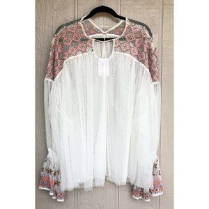 Free People | Embroidered Lace Joyride Blouse Top